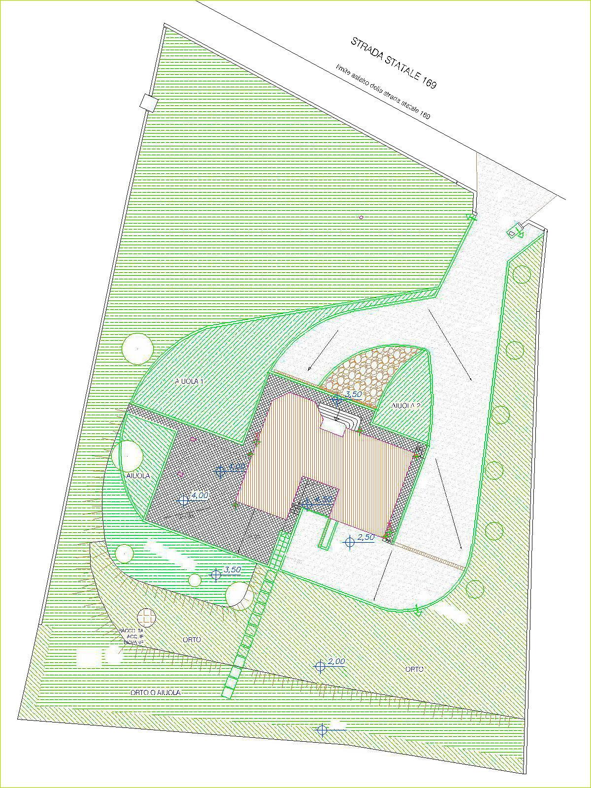 Pianta in scala del progetto di uno spazio verde che circonda un villino