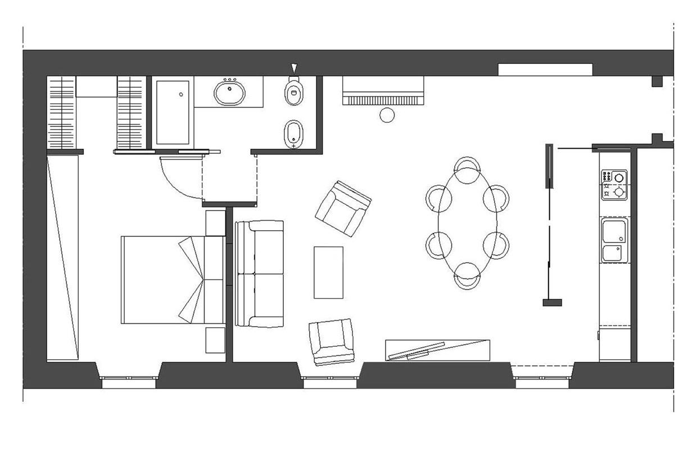 Piantina in scala di un appartamento da ristrutturare
