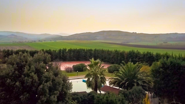 Vista dall'alto della piscina Delfino Blu immersa nel verde della campagna circostante